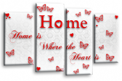 Home Quote Wall Art Print White Red Love Split Picture